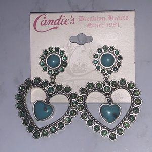 Candies Turquoise Heart Dangle Earrings